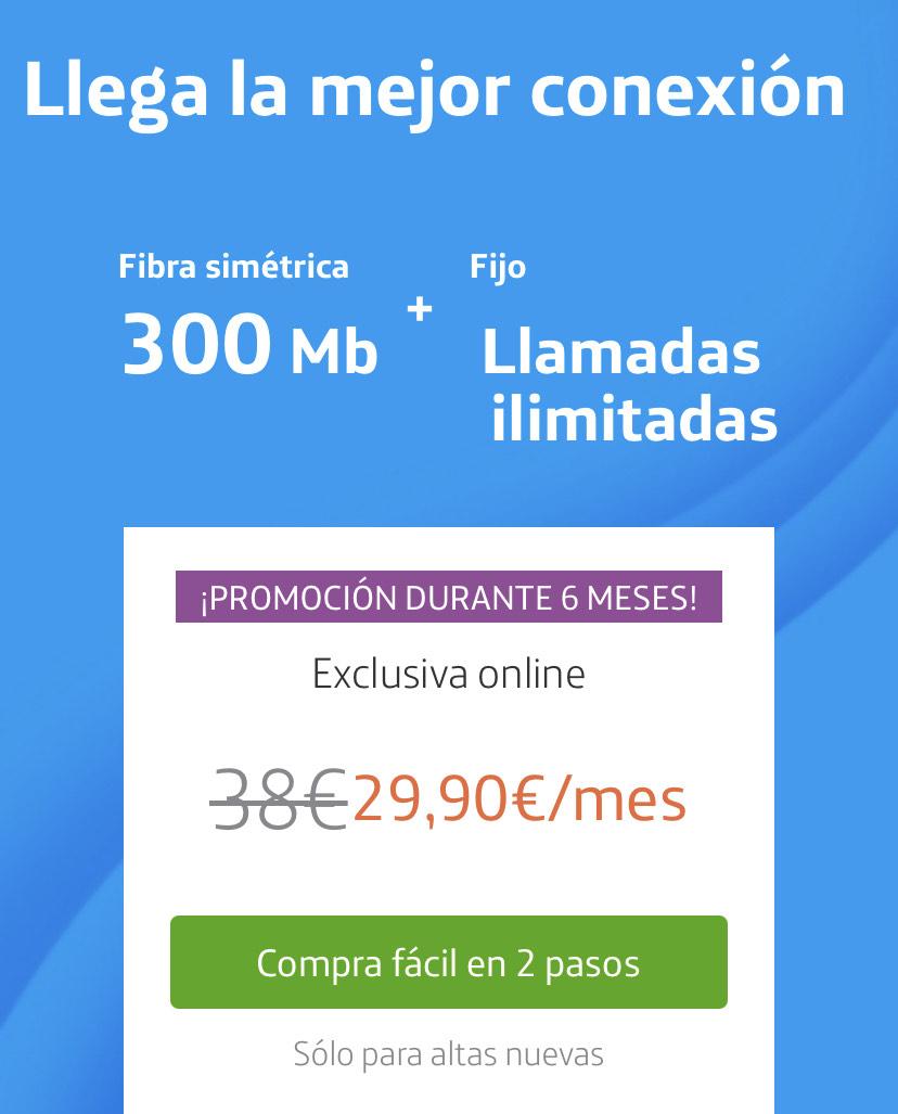 Movistar Fibra 300 + Llamadas Ilimitadas durante 6 meses Altas Nuevas