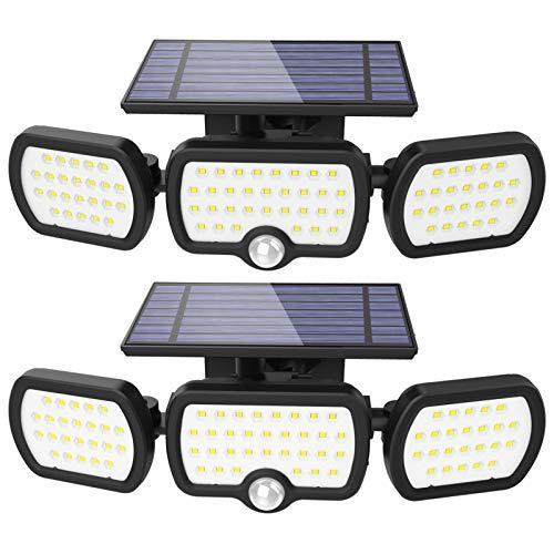 Pack de 2, Luz Solar Exterior, 3 modos de iluminación Luz solar de seguridad, Con iluminación gran angular de 360°