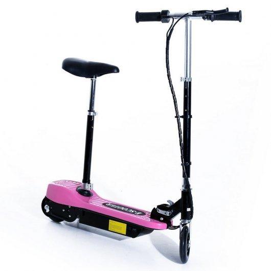 HomCom Scooter Patinete Eléctrico Plegable con Manillar y Asiento Ajustable Rosa