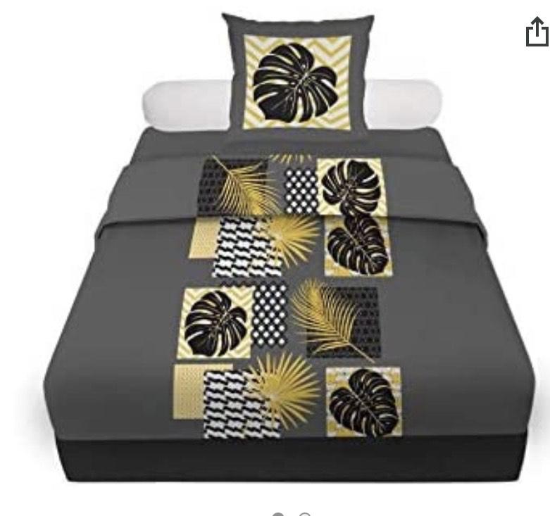 Cama de 90 Soleil d'ocre Palmera - Juego de sábanas (algodón, 180 x 290 cm), Color Gris