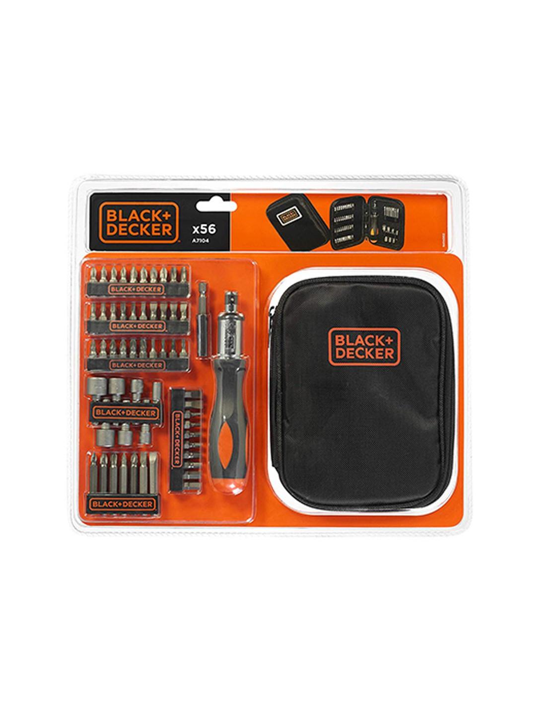 Kit de 56 piezas para atornillar con Atornillador de Carraca Black+Decker A7104