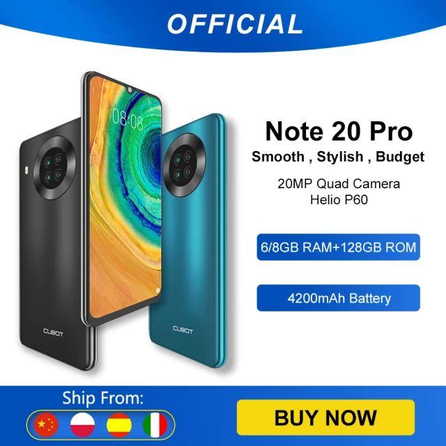 Cubot Note 20 Pro cuádruple cámara Smartphone NFC 8GB RAM + 128GB ROM 6,5 Inch 4200mAh batería