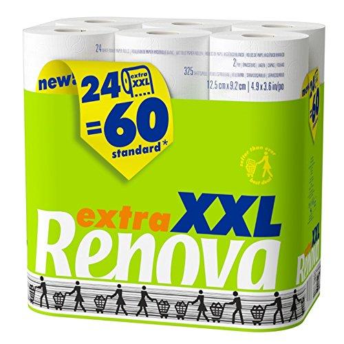 24 rollos de papel higiénico Renova XXL equivalentes a 60 rollos