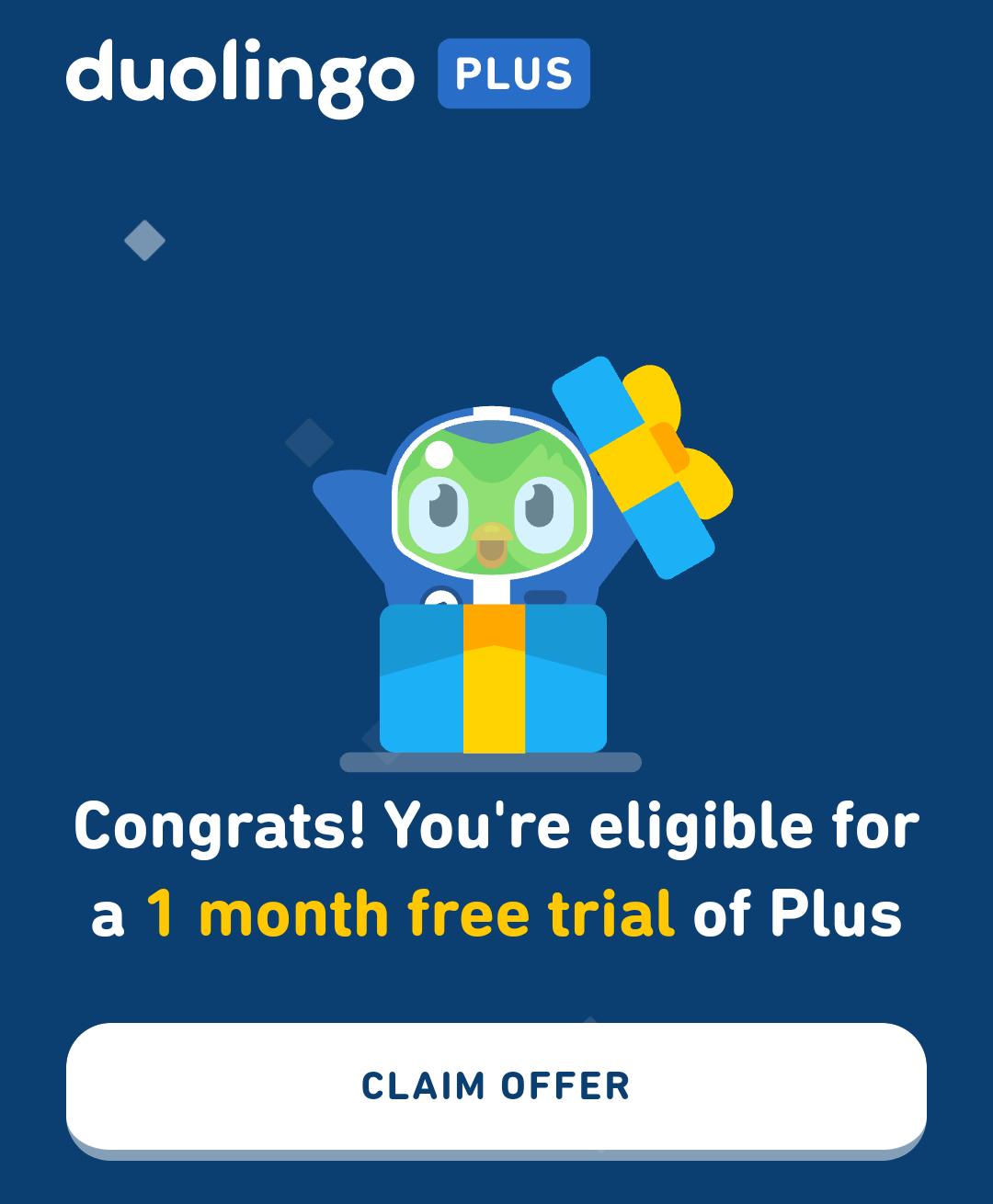 1 mes de Duolingo Plus gracias a tinder