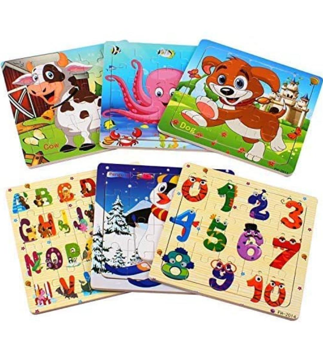6 Puzzles de madera para niños de 20 piezas