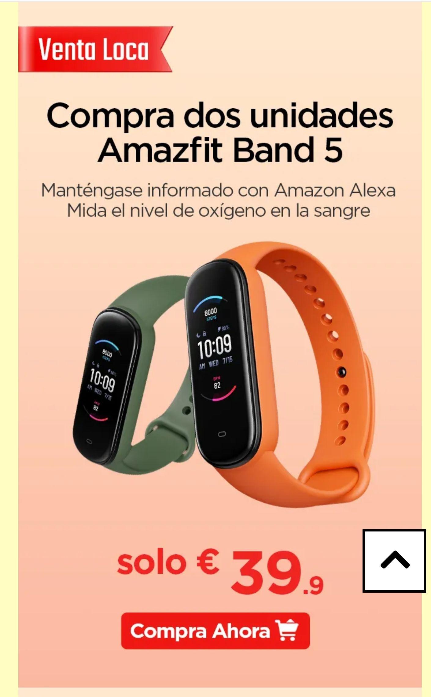 Dos unidades Amazfit Band 5, solo 39,9€