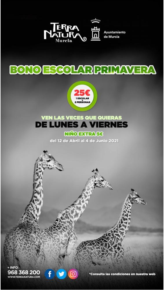 TERRA NATURA MURCIA - Bono primavera por 25€ acceso ilimitado del 12/04 hasta el 04/06 (2 adultos+1niño)
