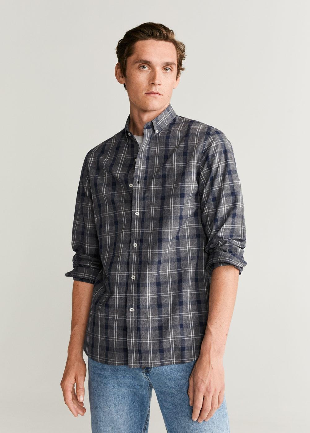 Camisa de hombre, slim fit algodón cuadros