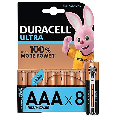 Duracell Ultra Power AAA - Pila Alcalina de Duración y Potencia Superior, 8 Unidades