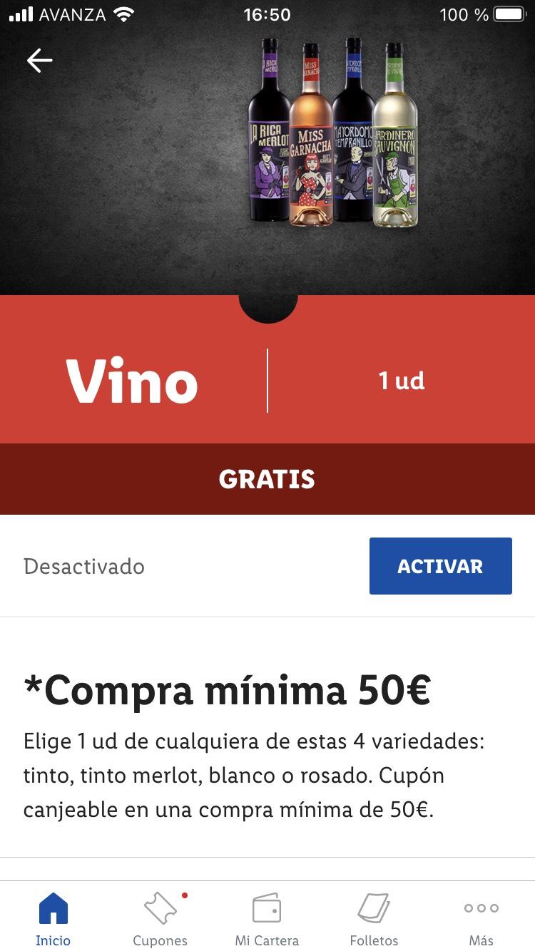 Botella de vino de regalo gastando 50€