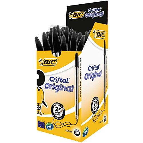 BIC Cristal Original Bolígrafos Punta Media (1,0 mm) - Negro, Caja de 50 Unidades, Perfecto para Oficinas