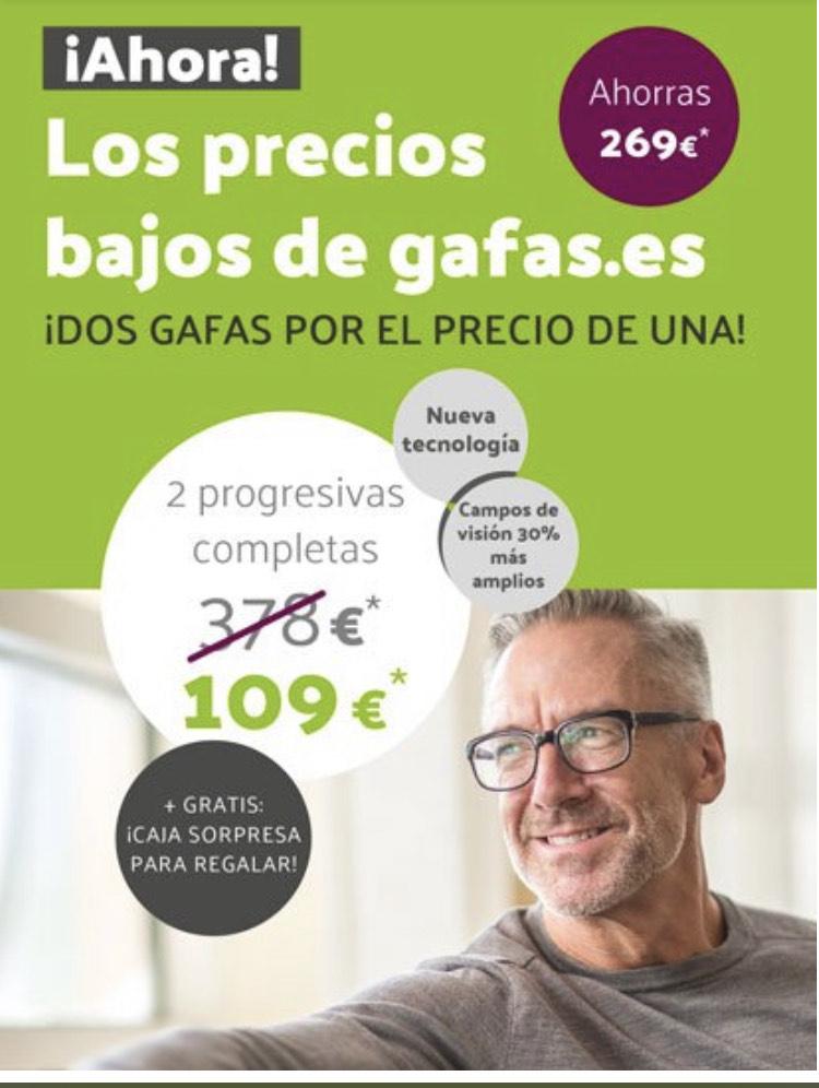 2 gafas progresivas por 80€ cada una