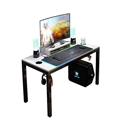 DlandHome Mesa para PC Todo en Uno para Computadora con Alfombrilla de ratón RGB LED Game & Soporte de Pantalla 120 * 60cm Gris & Negro