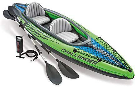 Kayak hinchable Intex línea Challenger K2 diseñado para dos personas (máximo 180 kg), con unas medidas de 351 x 76 x 38 cm