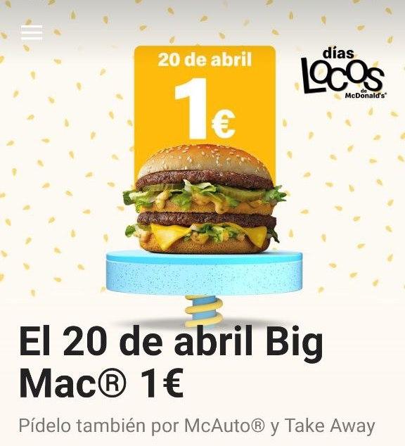 Big Mac 1€ (20 de abril días locos McDonald's)