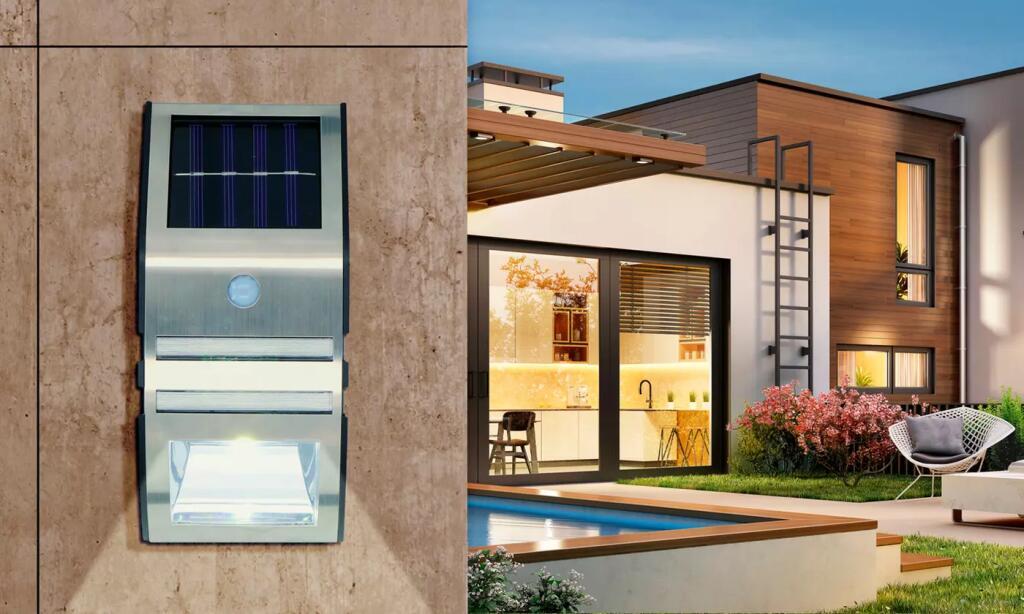 1 o 2 apliques solares de pared con detector de movimiento Grundig