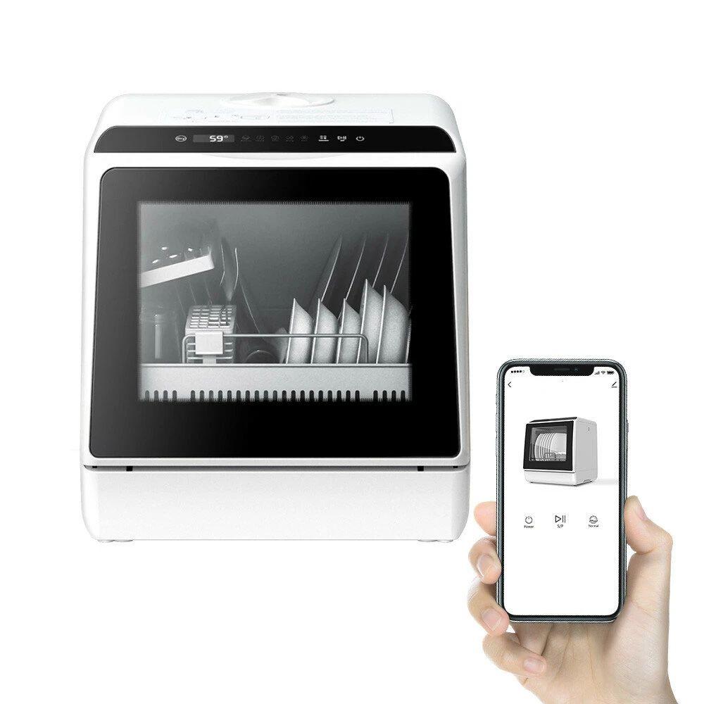 BlitzWolf®BW-CDW1 Lavavajillas de encimera portátil inteligente con control de aplicación, 4-6 juegos de gran capacidad,