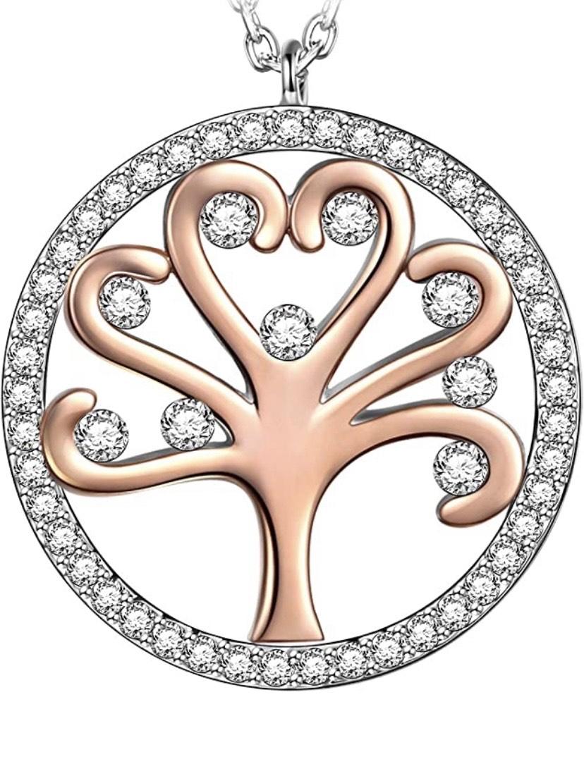 Collar Árbol de la Vida, Chapado en Oro Rosa, Embalaje de Regalo