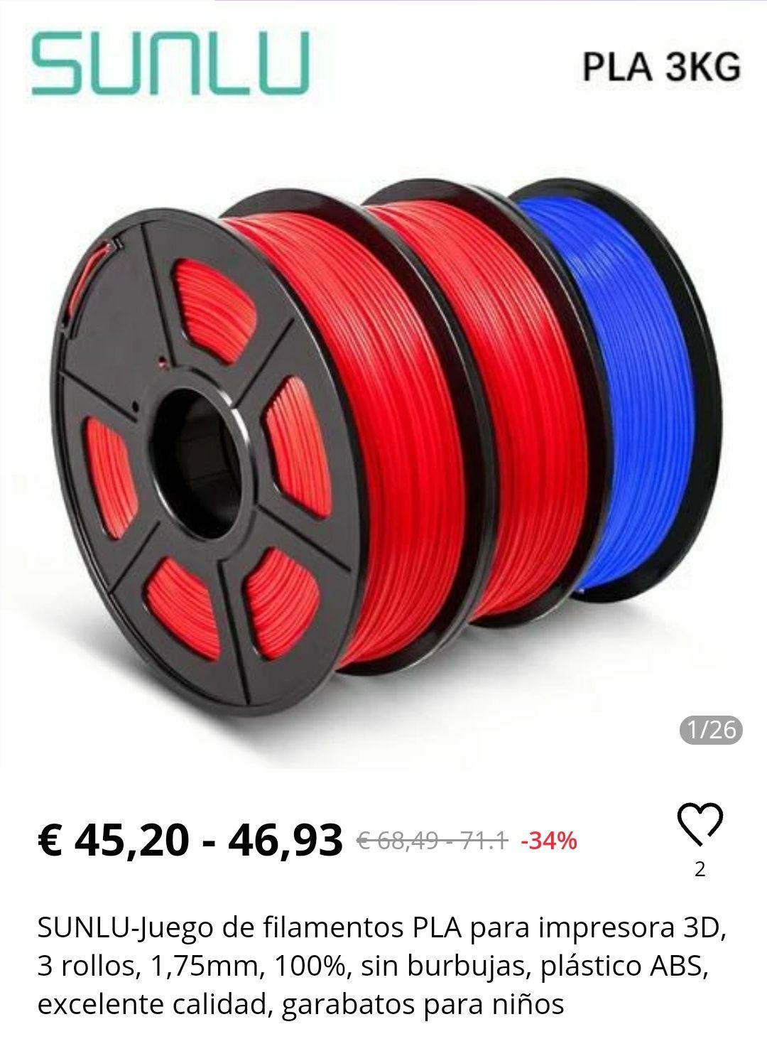 Filamento Pla SUNLU Pack 3 rollos desde Alemania