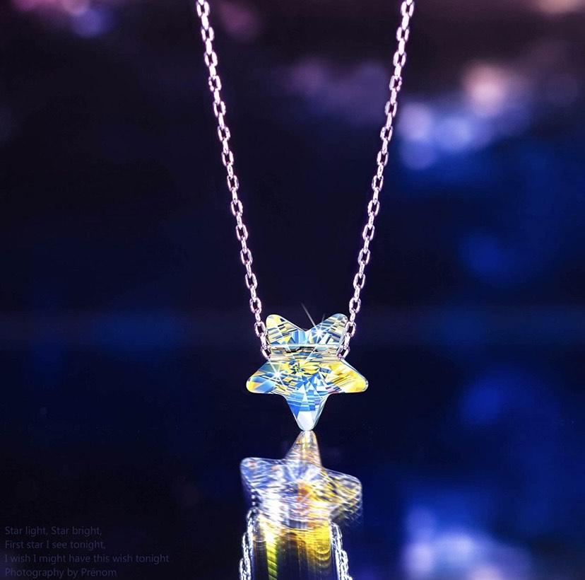 Collar de Plata 925 - Estrellas en el Cielo Noruego - Aurore Borealo Cristal de Swarovski