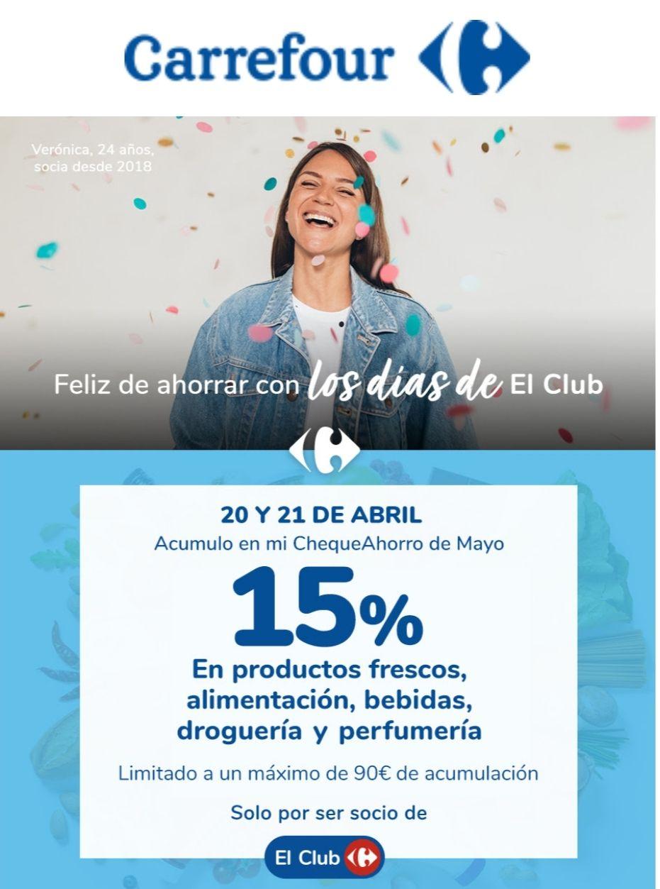 -15% Chequeahorro Carrefour - Días del club