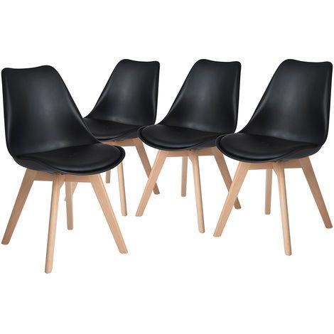 Pack 4x sillas estilo nórdico con base blanda tapizada