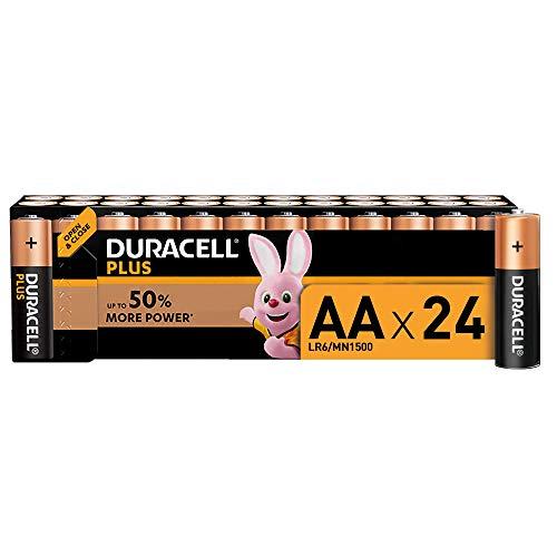 Duracell Plus AA, Pilas Alcalinas , paquete de 24, 1,5 Voltios LR06 MN1500
