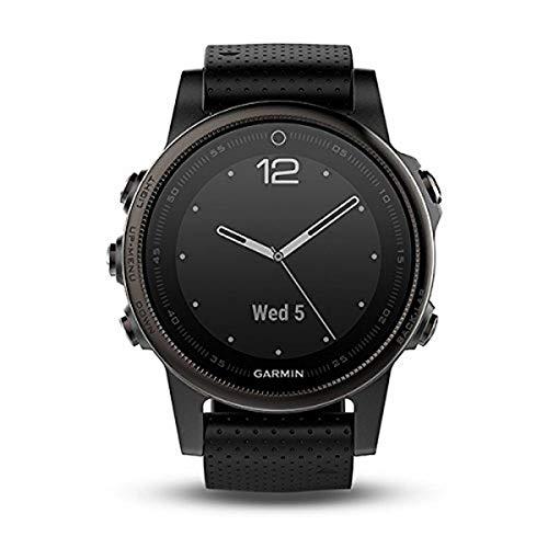 Garmin Fenix 5S Bluetooth Black Sport Watch – Sport reloj (Black, Polymer, Stainless Steel, Water resistant, silicona, 10 ATM)