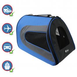 Transportín Plegable para Perros y Gatos Yatek, Bolsa de Transporte Acolchada a prueba de agua, tamaño 48 x 27 x 27 cm, color azul
