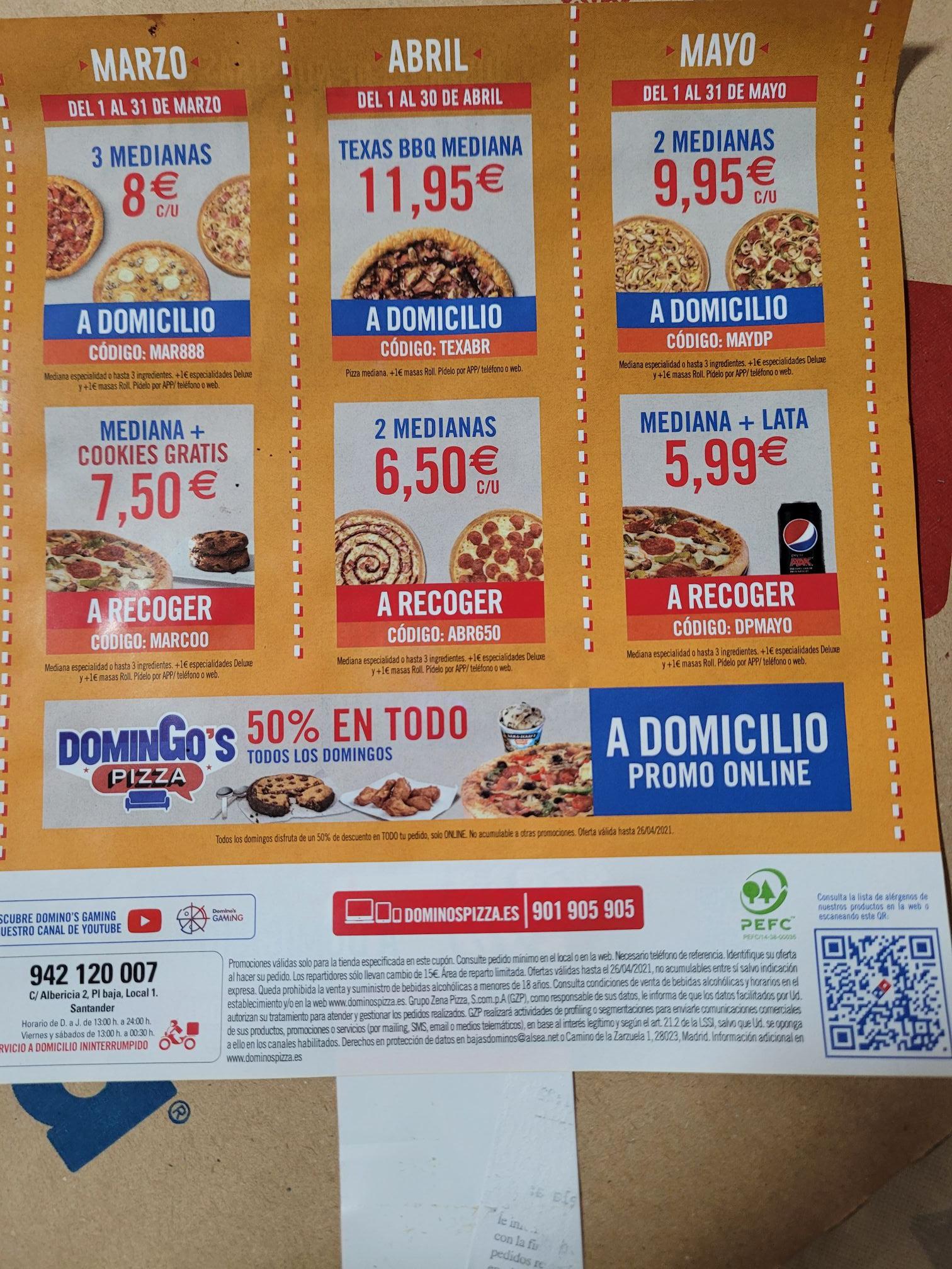 Descuentos Domino's pizza Marzo-Abril-Mayo