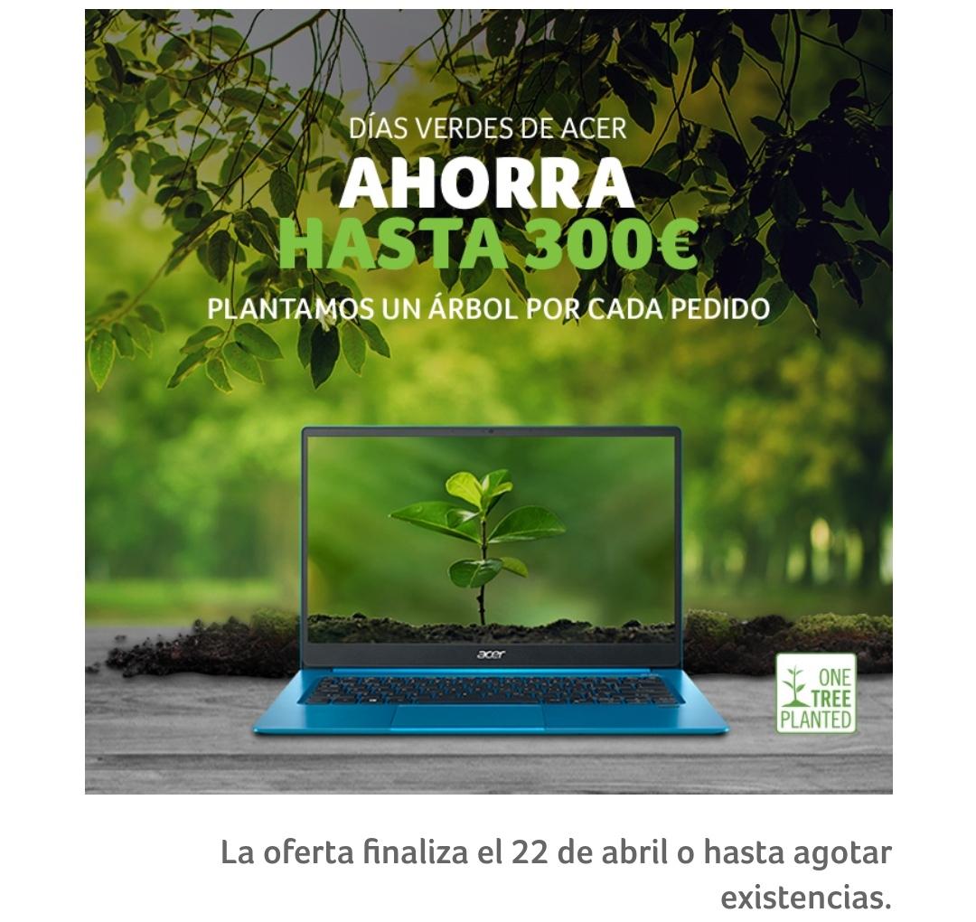 Acer días verdes Hasta 500€ de descuento Y con iniciativa ecológica