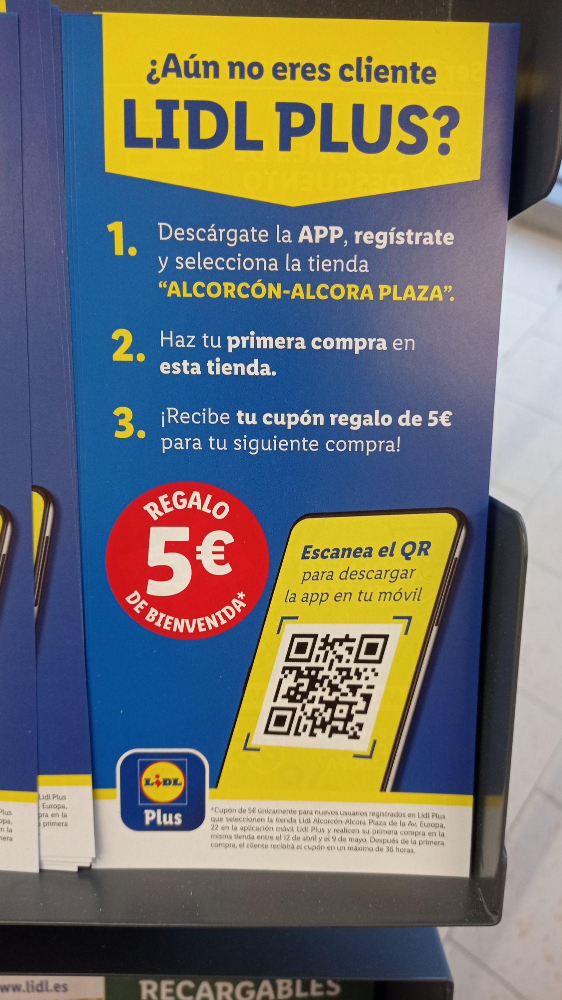5€ GRATIS descargando app Lidl plus ( en Alcorcón) no sé si en otros Lidl es válido