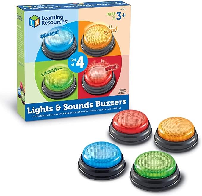 Reaco Pulsadores electrónicos con luz Educativos, kit de 4. Learning Resources