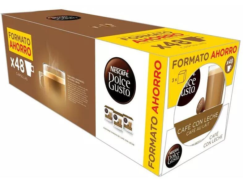 9 cajas de 16 cápsulas de Dolce Gusto café c/leche o intenso por 19,98€
