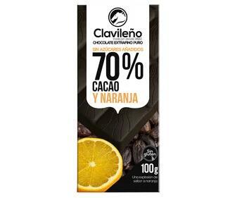 Tableta Chocolate 100 grs. extrafino puro 70% cacao y naranja, sin azúcares añadidos CLAVILEÑO - Alcampo Moratalaz (Madrid)