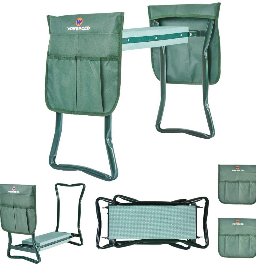 Banco-Taburete para Jardineria Plegable 2 en 1 Con almohadilla +bolsas para herramientas