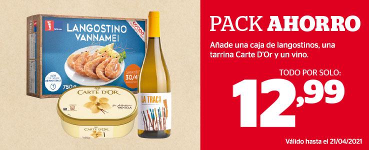 Caja de langostinos + tarrina de helado + vino