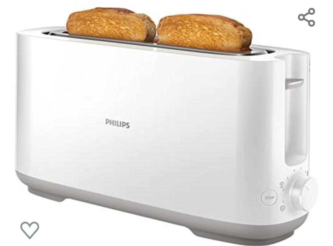Philips Daily HD2590/00 -Tostador 950w, Ranura Larga, 8 Funciones, Color Blanco