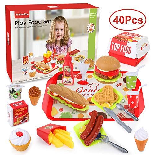 40 piezas de alimentos de juguete