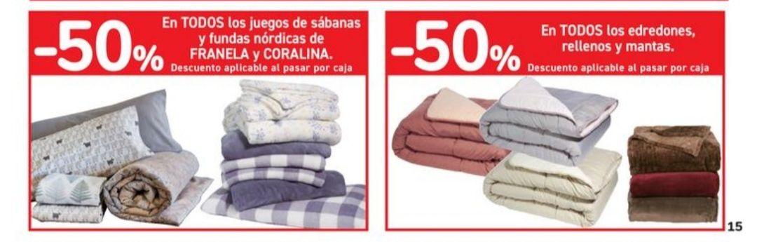 50% de descuento en todos los edredones, rellenos, mantas, juegos de sábanas y fundas nórdicas