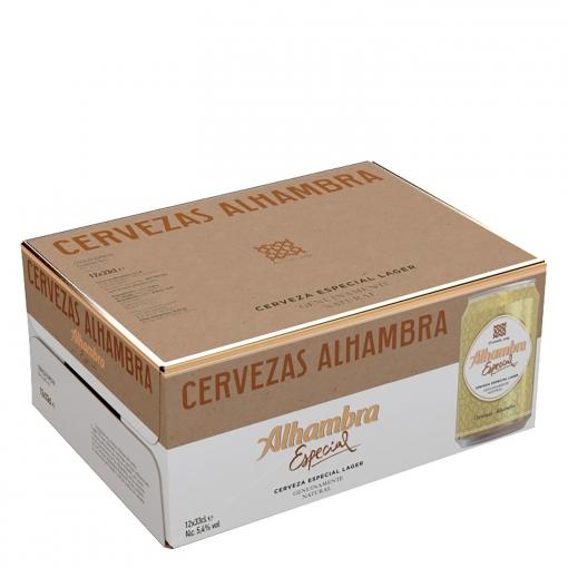 Cerveza Alhambra Lager especial pack de 12 latas de 33 cl