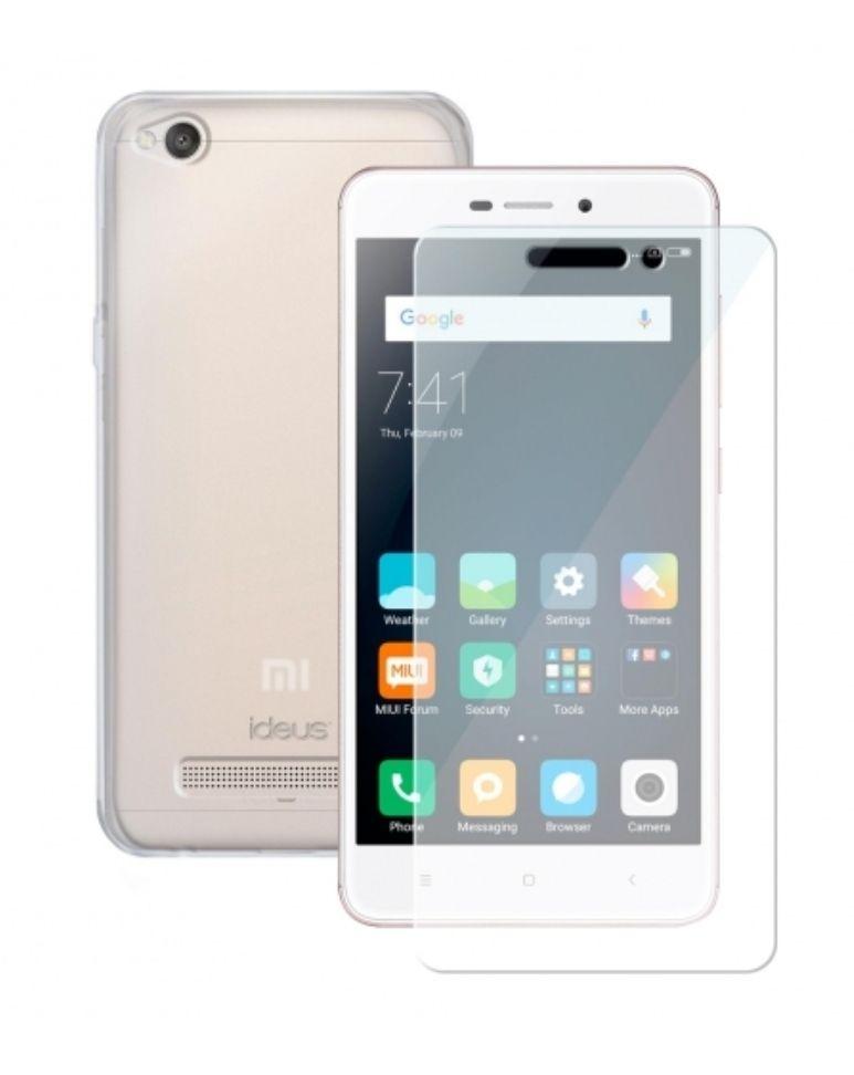 Carcasa Ideus y Protector de Pantalla para Xiaomi Redmi 4A - Transparente