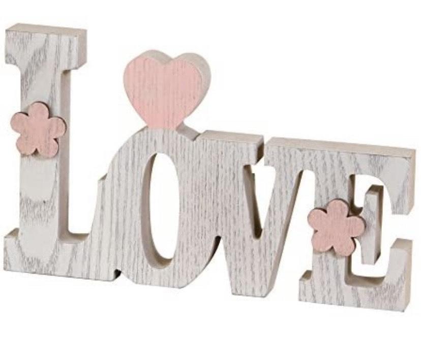 Figura decorativa Love, Madera, Blanco, 3x20.5x12.2 cm