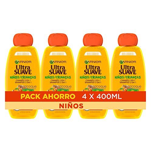 Garnier Ultra Suave, Champú Albaricoque y Flor de Algodón para Niños pack 4x400