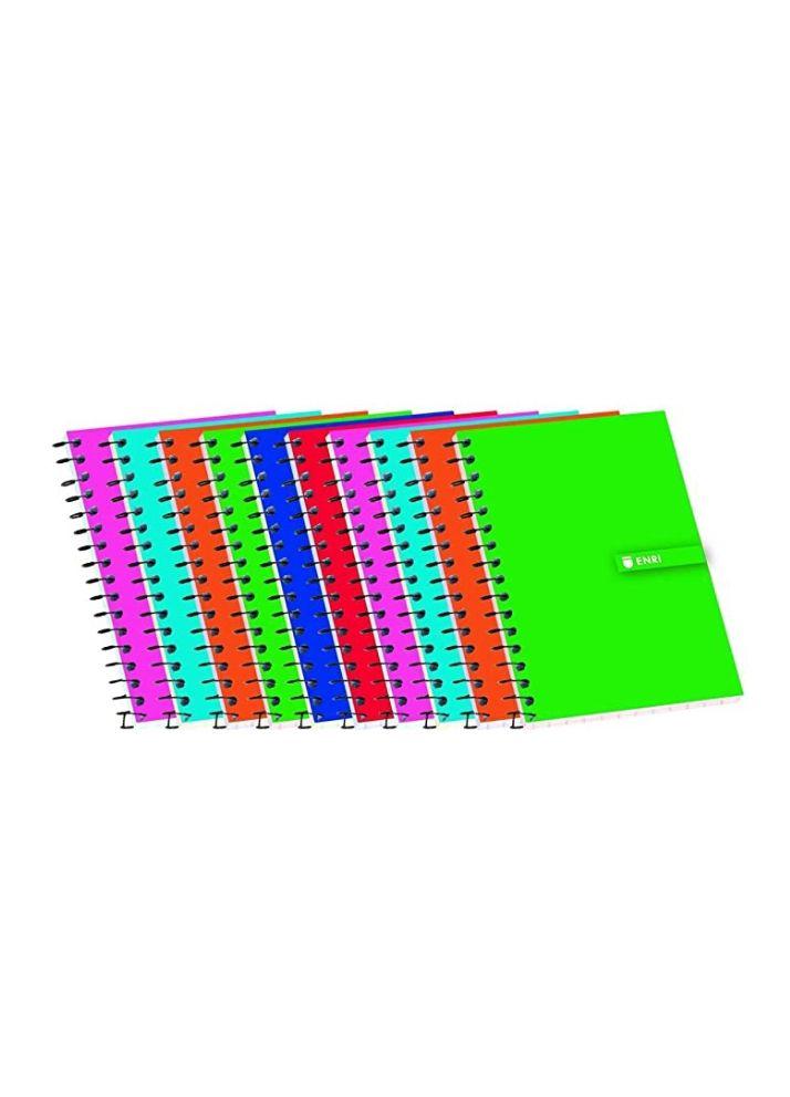 Libretas A7 Enri Pack de 10 Tapa blanda. Cuadrícula 4x4. Colores aleatorios.