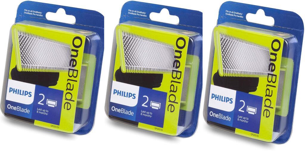 3 paquetes de 2 cuchillas (6 unidades) para Philips Oneblade por 39,98€