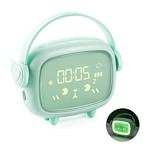 Despertador Infantil, Pantalla LED Digital, USB Recargable.