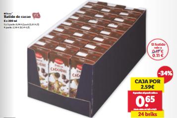 24 batidos de chocolate Lidl Andalucía