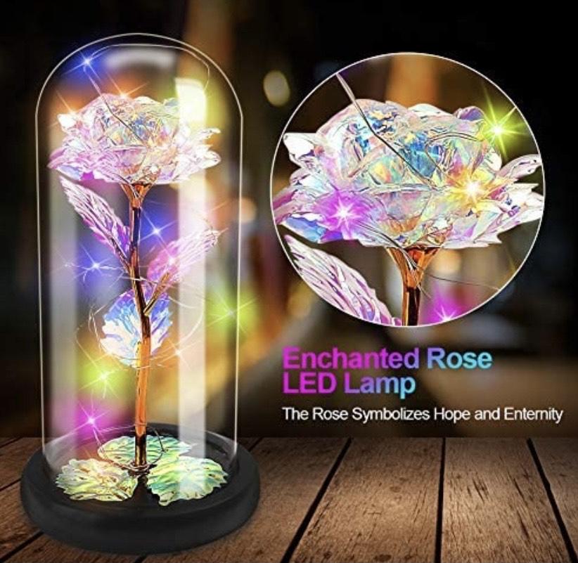 Lámpara de Flor Bella y Bestia Kit de Rosas Elegante Cúpula de Cristal con Base Pino Luces LED