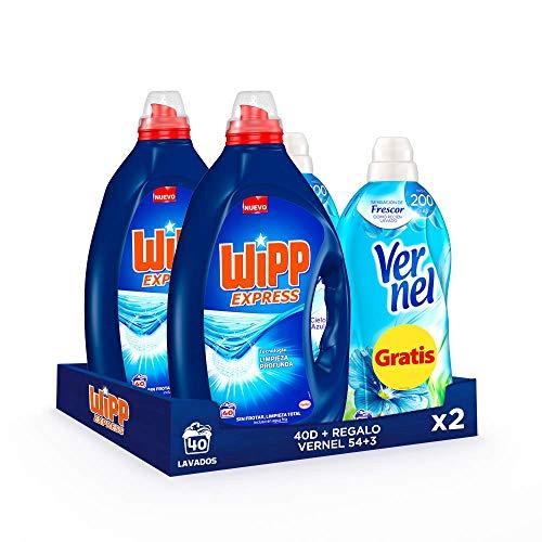 Pack 2 Wipp Express 40 Lavados + 2 Vernel Suavizante Azul 57 lavados